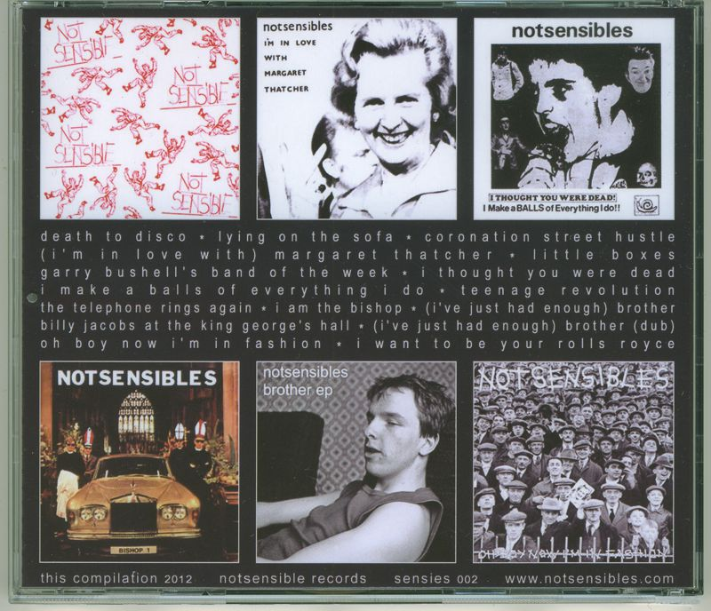 Notsensibles singles CD - back
